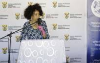 Human Settlements Minister Lindiwe Sisulu in Masiphumelele in Cape Town on 22 December 2020. Picture: @LindiweSisuluSA/Twitter