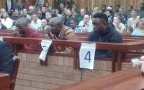 Convicted rhino poachers Forget Ndlovu, Jabulani Ndlovu and Sikhumbuzo Ndlovu in the Grahamstown High Court for sentencing. Picture: SAPS/Twitter.