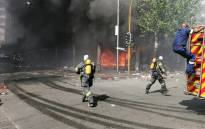 A building at the intersection of Jeppe and Eloff street caught fire in the Joburg CBD on 9 October 2020. Picture: @CityofJoburgEMS/Twitter.