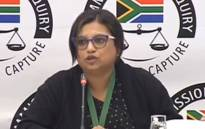 A YouTube screengrab of Krivani Pillay appearing at the state capture inquiry on 5 September 2019.