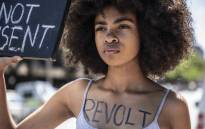 Teen activists Zulaikha Patel and Boitumelo Thage led a silent protest outside Pretoria Magistrates Court gender-based violence, rape and abuse. Picture: Abigail Javier/EWN.