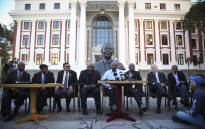 Leaders of various opposition parties hold a briefing outside Parliament on the motion of no confidence in President Jacob Zuma, which Baleka Mbete has decided will be held by secret ballot. Picture: Moeketsi Moticoe