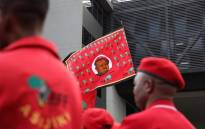 EFF protesters outside state capture inquiry venue. Picture: Abigail Javier/EWN