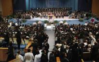 Guests attend the funeral for Aretha Franklin at the Greater Grace Temple on 31 August 2018 in Detroit, Michigan. Picture: AFP.