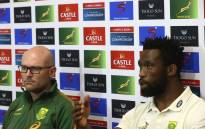 South Africa's captain Siya Kolisi (R) and head coach Jacques Nienaber attend a press conference after the Rugby Championship match against Australia on 12 September 2021. Picture: AFP
