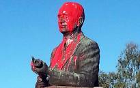 The Prime Minister Johannes Gerhardus Strijdom was defaced with red paint on 15 April 2015. Picture: Charl Blignaut via Twitter