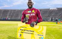 Mamelodi Sundowns goalkeeper Kennedy Mweene was the Man of the Match for saving four penalties in the shootout against Kaizer Chief in their MTN8 match on 15 August 2021. Picture: @Masandawana/Twitter