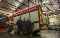 Elroy Gertze, Lushanne Conradie and Liesl George all work as firefighters at the Belhar Fire Station. Picture: Cindy Archillies/EWN