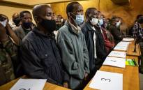 Fifty-three military veterans accused of holding ministers Thandi Modise, Mondli Gungubele and deputy minister Thabang Makwetla against their will appeared in court on 19 October 2021 for bail applications. Picture: Pool/Jacques Nelles