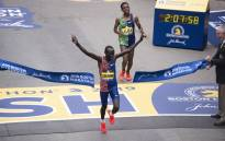Kenya's Lawrence Cherono edges Ethopia's Lelisa Desisa for first place in the Men's Elite race at the 123rd Boston Marathon on 15 April 2019 in Boston, Massachusetts. Picture: AFP