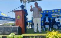 Police Minister Bheki Cele, his deputy Cassel Mathale and National Police Commissioner Khehla Sitole on Friday launched the national safer festive season operation in the North West on 15 October 2021. Picture: SAPS.