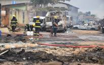 Two people were killed and over 30 vehicles burnt on 4 July 2019 after thieves breached a fuel pipeline in Lagos, Nigeria's commercial hub, causing an explosion. Picture: @Steve_amire/Twitter.
