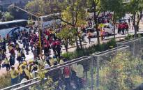 Massmart employees participate in a protest in Sandton on 28 May 2021 against the potential closure of stores and job cuts. Picture: Veronica Mokhoali/Eyewitness News