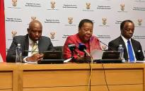 Higher Education and Training Minister Naledi Pandor, Deputy Minister Buti Manamela and Nsafs chairperson Sizwe Nxasana briefing media in Cape Town on the progress made in implementing free higher education. Picture: @SAgovnews/Twitter