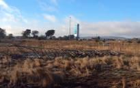 Mangled pylon on the burnt grass in Lenasia on 6 June 2014. Picture: Faizel Patel via Twitter.
