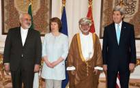 Iran's Mohammad Javad Zarif, the European Union's Catherine Ashton, Minister Responsible for Foreign Affairs of Oman, Yousef bin Alawi Abdullah, and US Secretary of State, John Kerry in Muscat, Oman. Picture: EPA.