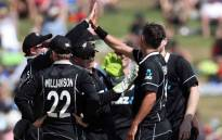 The New Zealanders celebrate a wicket against India during their fourth ODI clash in Hamilton. Picture: @BCCI/Twitter.