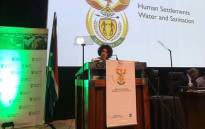 Human Settlements, Water and Sanitation Minister Lindiwe Sisulu at the launch of her department's master plan aimed at addressing South Africa's water crisis on 28 November 2019 at the CSIR International Convention Centre in Tshwane. Picture: @NLinSouthAfrica/Twitter
