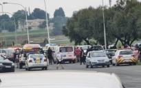The scene where former 28's gang leader Ernie Solomon was shot and killed in Boksburg on 20 November 2020. Picture: Twitter/@crimeairnetwork
