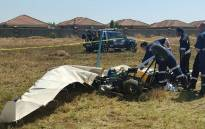 The crash took place on a field on the corners of Langkloof and Rogers in Alrode, south of Johannesburg. Picture: ER24.