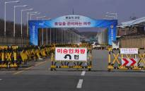 FILE: A barricade is set on the road leading to the truce village of Panmunjom at a South Korean military checkpoint in the border city of Paju near the Demilitarized Zone (DMZ) dividing the two Koreas on November 14, 2017. Picture: AFP.