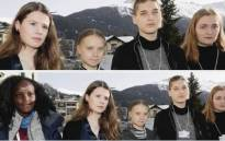 Climate activist Vanessa Nakate was cropped out of an image with four of her white peers at a youth meeting in Davos. Picture: Twitter