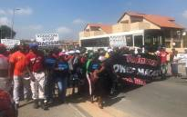 A group of supporters arrive at Vodaworld in Midrand in support of 'Please call me' inventor Nkosana Makate's fight for compensation against Vodacom. Picture: EWN