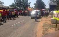 FILE: The National Union of Mineworkers (NUM) members march to AngloCoal in Witbank to hand over a memorandum in support of their demand for a R1,000 increase for their lowest paid workers. Picture: @NUM_Media.