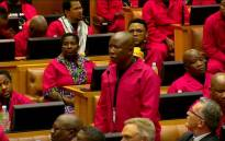 A screengrab of EFF leader Julius Malema rising on a point of order during the 2020 State of the Nation Address.