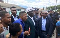 Police Minister Bheki Cele pictured among Netreg residents in Cape Town on 22 January 2019. Picture: Monique Mortlock/EWN