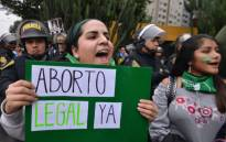 Activists in favour of the approval of a bill to legalise abortion in Argentina, demonstrate outside the Argentine Embassy in Lima on 8 August 2018. Picture: AFP