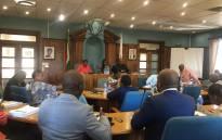 Background from left: Lesedi Municipality manager Gugu Thimane, (M) Mayor Lerato Maloka and Speaker Mluleki Nkosi preside over a council meeting on 27 February 2020. Picture: Edwin Ntshidi/EWN