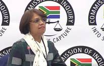 A screengrab shows SAA's former head of treasury Cynthia Stimpel at the state capture inquiry on 13 June 2019.