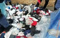 A view of the counterfeit shoes seized by police in the Eastern Cape. Picture: @SAPoliceService/Twittter.