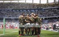 The Blitzboks team huddle after winning their match against Scotland. Picture: Cindy Archillies/EWN