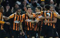 Players of Hull City FC celebrate after scoring a goal during a Premier League match. Picture: Hull Tigers