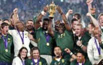 President Cyril Ramaphosa lifts the Webb Ellis Trophy with Springbok captain Siya Kolisi following the side's 32-12 victory over England in the 2019 Rugby World Cup final in Yokohama, Japan on 2 November 2019. Picture: @PresidencyZA/Twitter