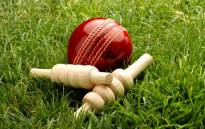 Red leather cricket ball with bailes. Image: 123rf.com