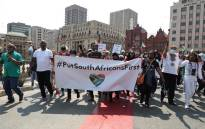 Small groups of civil society are marching from Church Square in Pretoria to the Nigerian Embassy on Wednesday, 22 September 2020. They are protesting against human trafficking and illegal foreign nationals. Picture: Abigail Javier/EWN