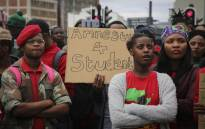 Students outside Parliament want government to respond to their call for amnesty for those arrested during the Fees Must Fall protests on 22 August 2018. Picture: Cindy Archillies/EWN