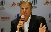 Brett Gosper, CEO of World Rugby, speaks to the media at a press conference. Picture: AFP