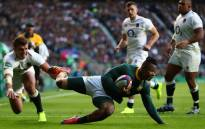Sbu Nkosi scored the only try of the Test while Handre Pollard added two penalty goals. Picture: Twitter @Springboks.