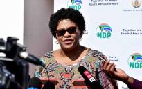 Communications Minister Nomvula Mokonyane addressing the media at the Cabinet Lekgotla in Pretoria. Picture: @SAgovnews/Twitter