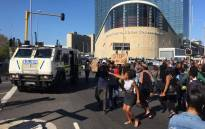 Protesters gathered outside the Cape Town International Convention Centre during a gender-based violence protest on 4 September 2019. Picture: Bertram Malgas/EWN.