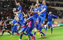 Juventus players celebrate after beating Monaco to reach the semifinals of the Uefa Champions League on 22 April 2015. Picture: Uefa Champions League.