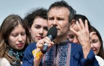 Svyatoslav Vakarchuk speaks during the presentation of his political party 'Golos' (Voice) in Kiev on 16 May 2019. Picture: AFP.