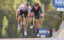 Jai Hindley (left) and Geoghegan Hart (right) during stage 18 of the Giro d'Italia on 22 October 2020. Picture: @giroditalia/Twitter