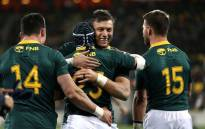 The Springboks celebrate their 36-34 win against the All Blacks. Picture: @CyrilRamaphosa/Twitter