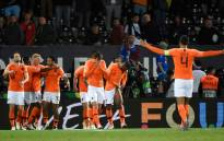 FILE: Netherlands' players celebrate their third goal during the Uefa Nations League semi-final football match between The Netherlands and England at the Afonso Henriques Stadium in Guimaraes on 6 June 2019. Picture: AFP