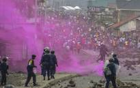 Flares are launched by DRCongo police forces during a demonstration in Goma on 19 September 2016. Picture: AFP.